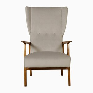 Italian Armchair in Oak, Foam Padding, and Velvet, 1950s