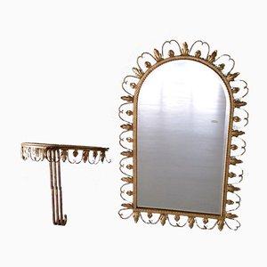 Espejo y mesa consola de metal dorado de Deknudt, años 60