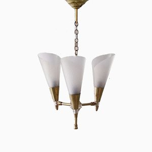 French Brass Hanging Lamp with Adjustable Shades, 1950s