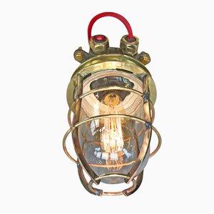 Lampe de Bureau Industrielle en Acier et Laiton avec Dôme en Verre et Ampoule Edison, 1970s