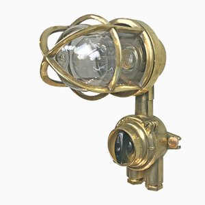 Vintage Brass Industrial Wall Light from Wiska, 1970s