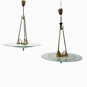 Lámparas de araña vintage de vidrio y latón de Pietro Chiesa para Fontana Arte. Juego de 2