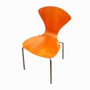 Vintage Stuhl aus Holz und Chrom, 1970er