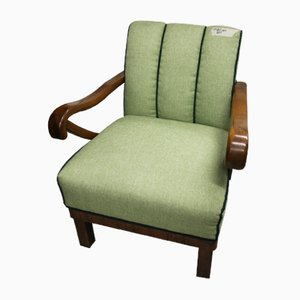 Art Deco Walnut Armchair with Green Upholstery