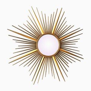 Großer Vergoldeter Metall Spiegel von Chaty Vallauris, 1960er