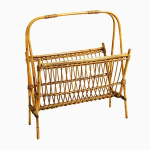Belgian Wicker Magazine Rack, 1970s