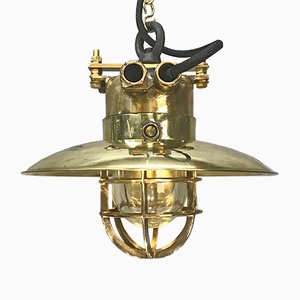 German Brass & Bronze Industrial Pendant Light from Wiska, 1976