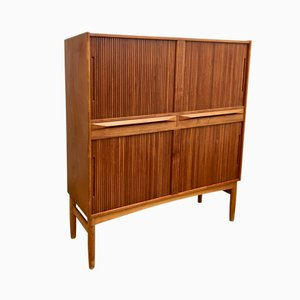 Tall Mid-Century Teak Cabinet with Tambour Doors by Ib Kofod Larsen for Fredericia