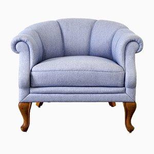 Club chair vintage con schienale a forma di conchiglia, anni '50
