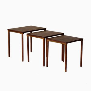 Tavolini a incastro in teak di Korup, Danimarca, anni '70, set di 3