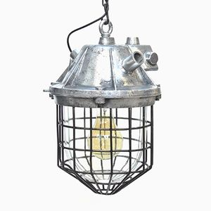 Vintage Suspension Lamp in Cast Aluminum & Glass