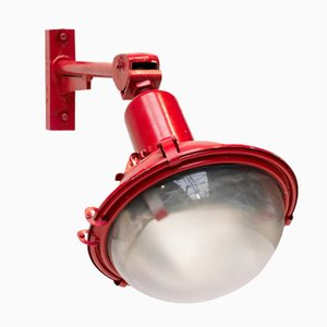 Industrial Red Wall Lamp with Adjustable Arm
