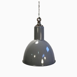 Vintage Grey Enamel Industrial Lamp