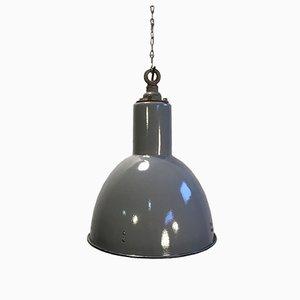 Vintage Industrie Lampe aus Grauer Emaille