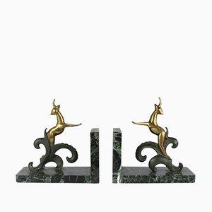 Fermalibri Hollywood Regency in bronzo, Francia, anni '30