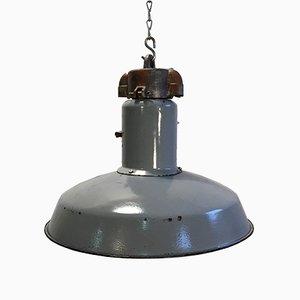 Graue Mid-Century Industrie Deckenlampe aus Emaille, 1950er