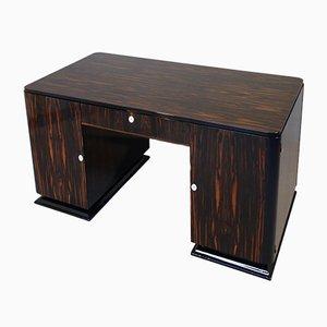 Französischer Art Deco Schreibtisch mit Makassar Ebenholz Furnier