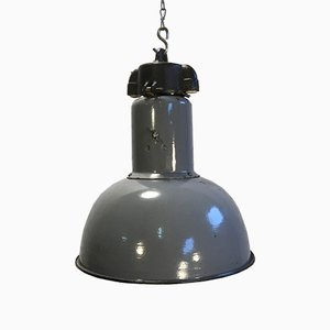 Lampe à Suspension Bauhaus Industrielle Vintage en Email Gris