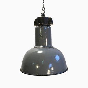 Vintage Industrial Grey Enamel Hanging Bauhaus Lamp