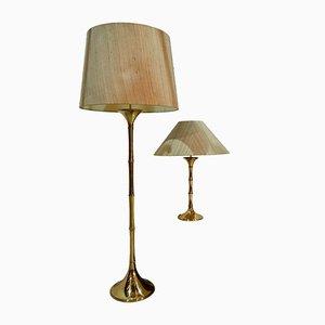 Lámpara de pie y mesa de Ingo Maurer para M Design, años 60