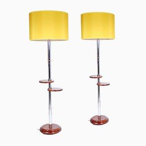 Lámparas belgas de nogal y cromo. Juego de 2
