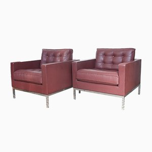 Aubergine Leather Club Chairs by Florence Knoll, 1980s, Set of 2
