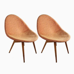 Small Czech Mid-Century Fireside Chairs, 1960s, Set of 2