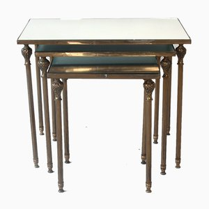 Brass & Mirrored Glass Nesting Tables from Maison Jansen, 1970s