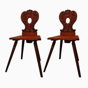 Antike Österreichische Stühle, 1800er, 2er Set