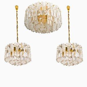 Luces Palazzo de latón dorado y vidrio de J.T. Kalmar, años 70. Juego de 3