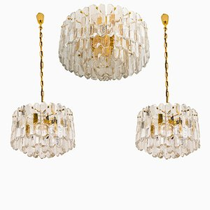 Palazzo Lights in Gilt Brass and Glass by J.T. Kalmar, 1970s, Set of 3