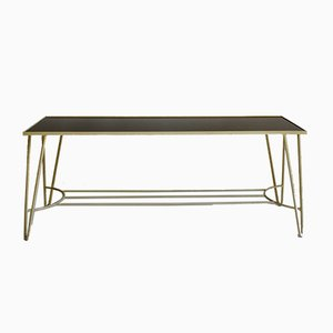 Mid-Century Black Glass Hairpin Coffee Table