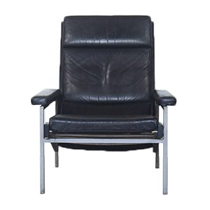 Dutch Black Leather Lounge Chair by Rob Parry for Gelderland, 1960s