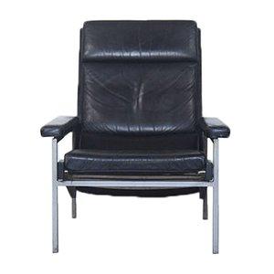 Schwarzer Niederländischer Leder Sessel von Rob Parry für Gelderland, 1960er