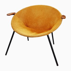Mid-Century Suede Lounge Chair by Hans Olsen for LEA
