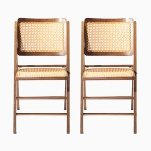 Mid-Century French Cane Folding Chairs, 1950s, Set of 2