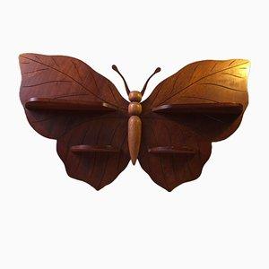 Vitrina danesa Mid-Century en forma de mariposa de teca, años 60