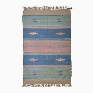 Kilim Dhurri indio vintage hecho a mano, años 60