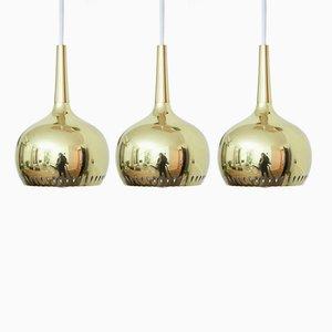 Lámparas colgantes de latón de Hans-Agne Jakobsson para Markaryd AB, años 60. Juego de 3