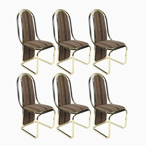 Italian Brass Dining Chairs, 1970s, Set of 6