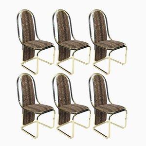 Italienische Messing Esszimmer Stühle, 1970er, 6er Set
