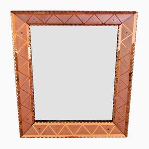 Italienischer Vintage Spiegel mit Geätztem Rahmen, 1940er