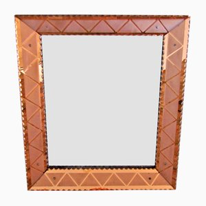 Vintage Italian Mirror with Etched Frame, 1940s