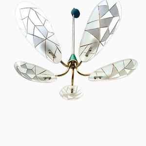 Lámpara de araña italiana grande de vidrio, años 50