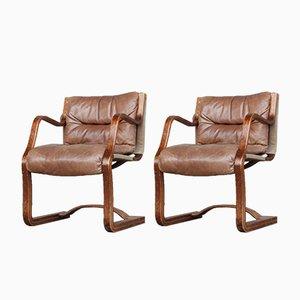 Esszimmerstühle aus Schichtholz & Leder von Esko Pajamies für Asko, 1960er, 2er Set