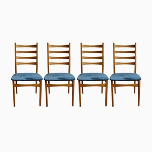 Mid-Century Scandinavian Blue Chairs, 1970s, Set of 4