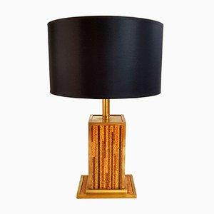 Lámpara de mesa italiana de corcho y latón, años 70