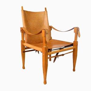 Swiss Leather Safari Chair by Wilhelm Kienzle for Wohnbedarf, 1960s