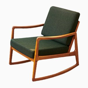 Senator Rocking Chair in Teak and Charcoal Fabric by Ole Wanscher for France & Daverkosen, 1951