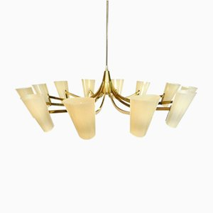 Large 12-Arm Brass Chandelier, 1950s